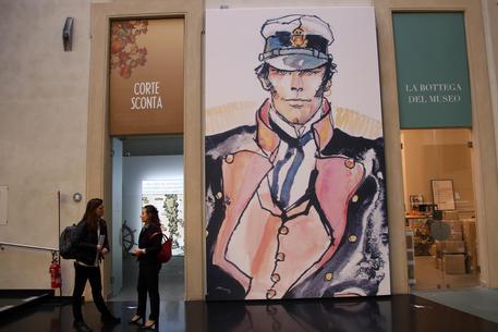 Un'immagine della mostra 'Hugo Pratt e Corto Maltese 50 anni di viaggi nel mito'' a Palazzo Pepoli fino al 19 marzo 2017, Bologna 3 novembre 2016. ANSA/GIORGIO BENVENUTI